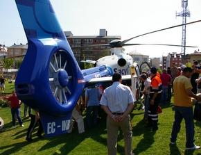El helicóptero fue uno de los atractivos de la exhibición