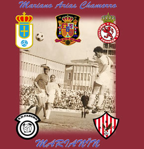 Instantánea de Marianín rodeada por el escudo de los equipos en que ha jugado