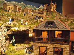 Detalle del Belén con el castillo de Herodes al fondo