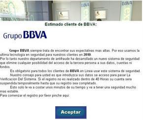 Captura de pantalla del email recibido suplantando la identidad del BBVA