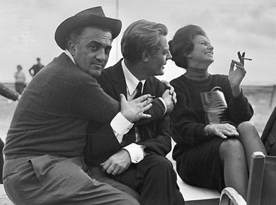 Federico Fellini, Marcelo Mastroianni y Sofia Loren