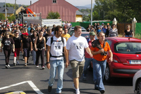 Un momento de la marcha, en San Román, sobre las 15.30 horas