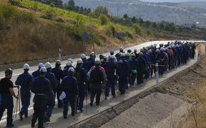 Los mineros se despidieron de Bembibre desde la Nacional