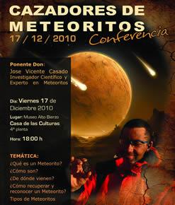 Cartel de la conferencia Cazadores de Meteoritos