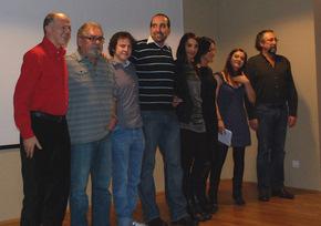 El equipo de producción, durante la presentación del sábado