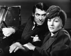 Gary Grant y Joan Fontaine en una escena del film