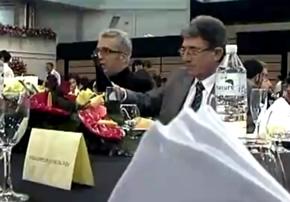 Leo Harlem y Jesús Esteban durante la cena del festival