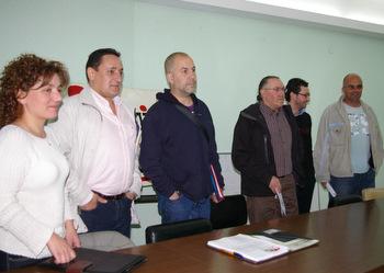 Trapote, en el centro, con otros integrantes de la candidatura