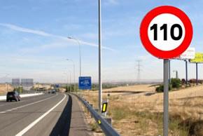 Límite máximo de 110 km/h en autovías y autopistas