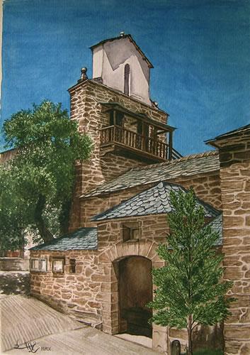 Acuarela de Gavilanes y León con la iglesia de San Andrés de las Puentes