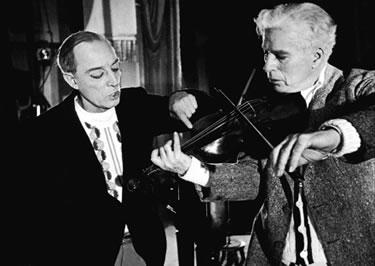 Buster Keaton y Chaplin durante el rodaje de Candilejas