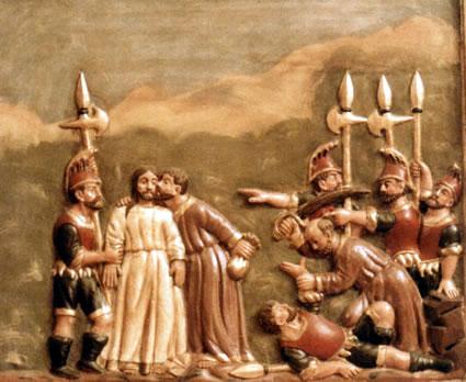 Estampa de un retablo de la iglesia de El Santo, obra de Pedro Corral Ramos. Los romanos han sido sustituidos por dragones franceses