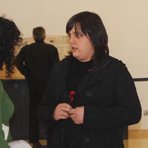 Blanca Porro, en el momento de la presentación de la exposición en Bmbibre