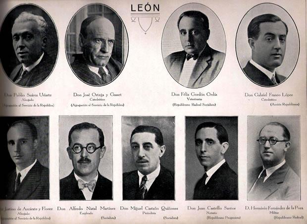 Diputados Nacionales elegidos por León en 1931.  Miguel Castaño junto a Ortega y Gasset, Alfredo Nistal, o Félix Gordón