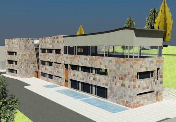 Infografía que presenta cómo será el edificio institucional