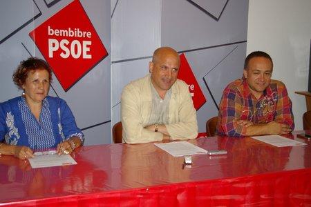Los concejales del PSOE en una rueda de prensa reciente