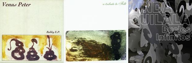 Algunas de las portadas que Virginia diseñó para el sello Elefant Records