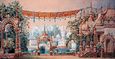 Dibujo original de Konstantin Ivanov para el escenario de El cascanueces, primer acto (1892)