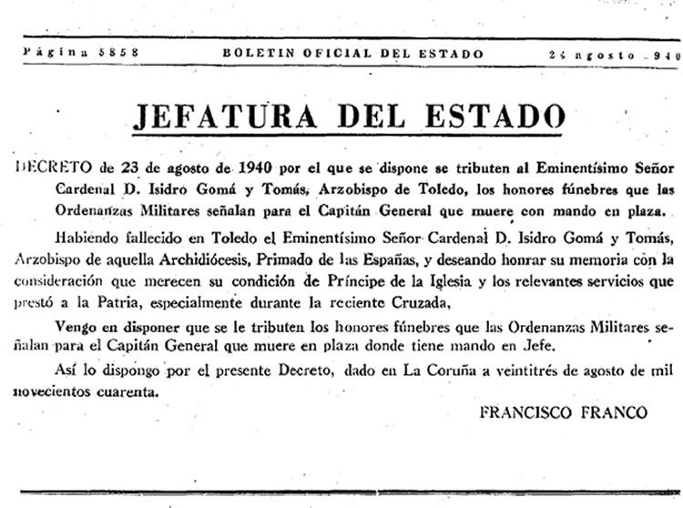 Decreto de Franco tras la muerte, en 1940, del cardenal Isidro Gomá