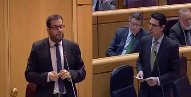 Momento de la intervención en el Senado de Ibán García (I) y el Ministro Soria (D)