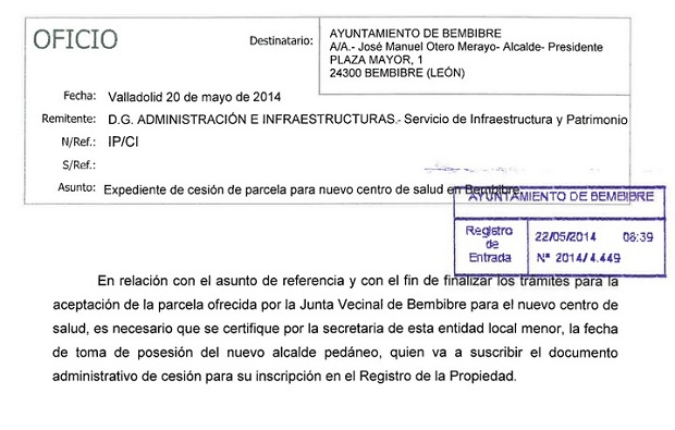 Recorte del documento que recibió el Ayuntamiento el pasado mes de mayo