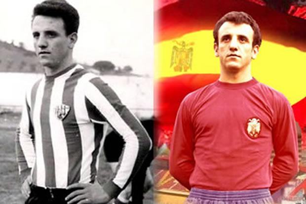 Marianín en 1967 con la camiseta del Atlético Bembibre y en 1973 con la de la Selección Española