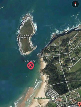 Playa de Loredo, donde tuvo lugar el rescate