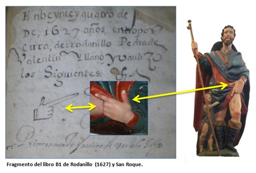 Fragmento del libro B1 de Rodanillo 1627 y San Roque