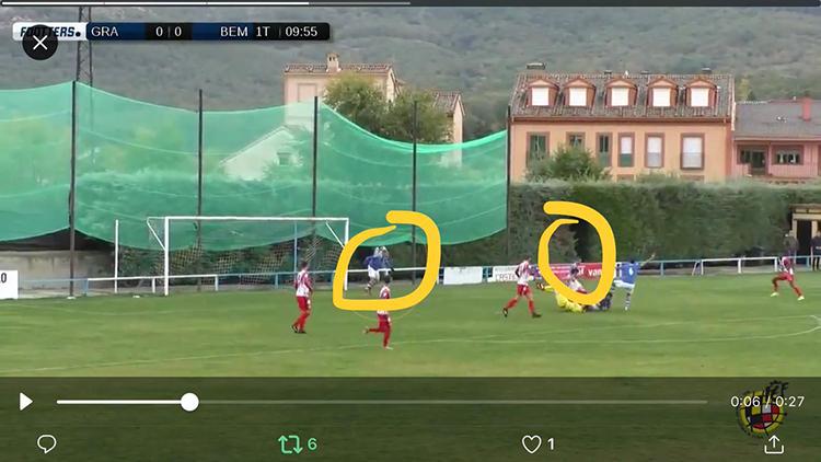 Imagen de la retransmisión de Footers analizada por Toño Rey donde se ve que no era fuera de juego