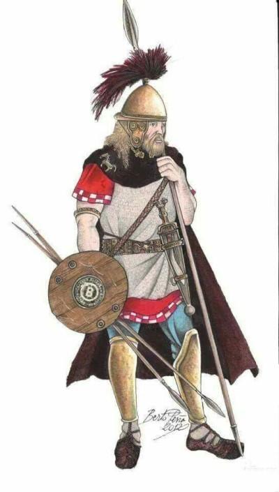 Un guerrero astur, con sus armas típicas